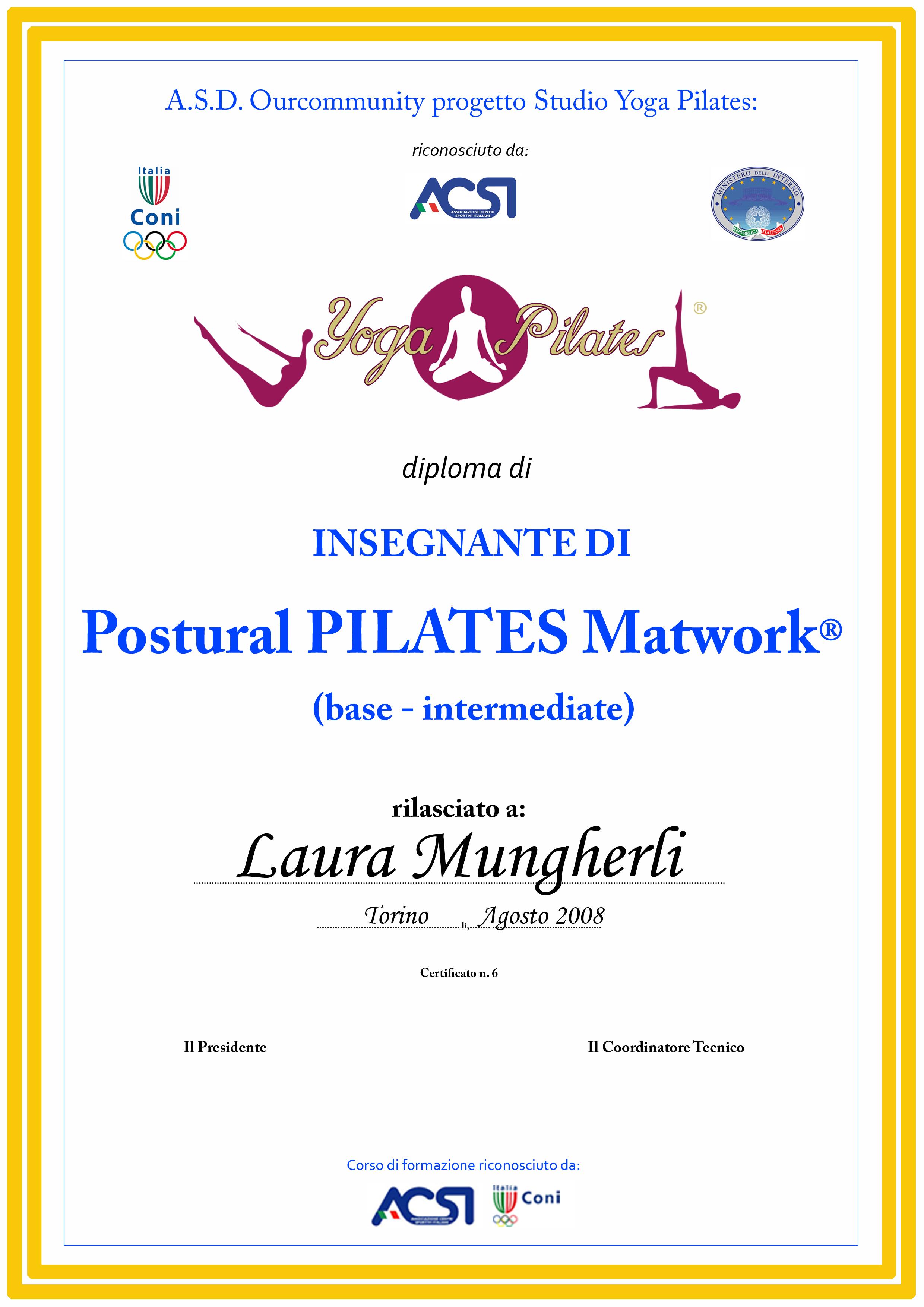 Diploma insegnante Postural Pilates Matwork®